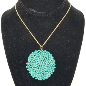 Turquoise Blue Beaded Round Pendent Necklace
